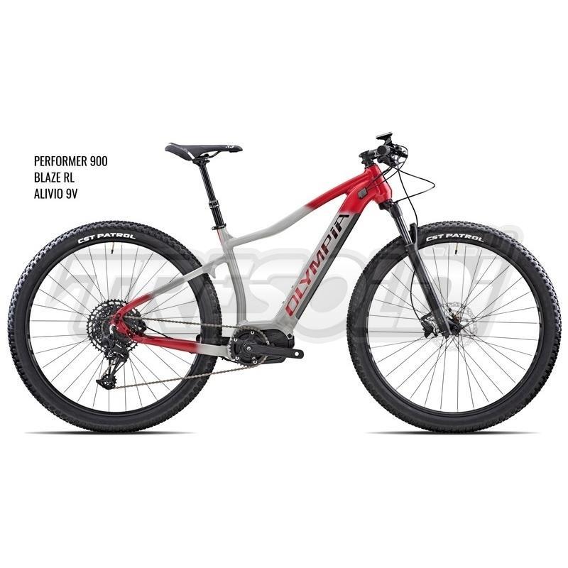 Olympia E-bike Mtb Performer 900 Alivio Blaze rl Silver Rosso
